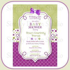 Baby Shower Invitations : Baby Shower Girl Invitation Designs - Purple And Green Girl Baby Shower