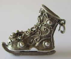 Large Silver Ice Skate Charm or Pendant by TrueVintageCharms on Etsy