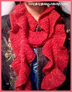 A simple neck scarf knitted in short rows. It's long and slender and has wavy edges on both side. When it is hung around neck, the scarf usually turn into spiral shape.