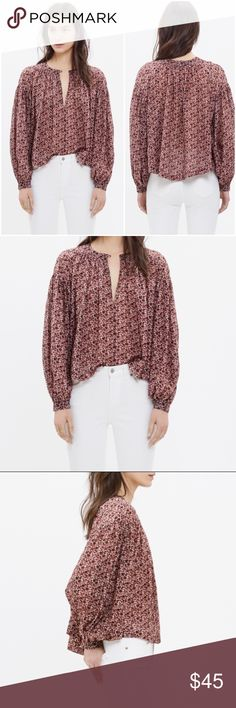Madewell Stitched Peasant Top In Plum Floral Madewell Stitched Peasant Top In Plum Floral - Size Medium. Never been worn. Madewell Tops Blouses