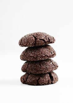 These bittersweet black cookies are lofty, dark, and plenty sweet. A perfect harmony if you ask me. When testing, I took them to the point of fudge, and then backed down a little.