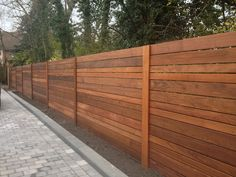 Image of: Horizontal Fence Panels Style - Garden Design Backyard Fences, Backyard Projects, Backyard Landscaping, Concrete Backyard, Privacy Fence Designs, Privacy Fences, Horizontal Fence, Outdoor Living, Outdoor Decor
