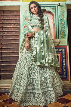 Product ID: Product is delivered Semi-Stitched (Unstitched)It can be custom-stitched upto Size 42 inches Work Type: Zari, Thread Embroidery & Pearls Work Blouse Color: Sea Green Lehenga Color: Sea Green Dupatta Color: Sea Green Blouse Fabric: Net Leh Green Lehenga, Net Lehenga, Lehenga Choli Online, Ghagra Choli, Bridal Lehenga Choli, Lehenga Blouse, Indian Lehenga, Anarkali Dress, Sea Green Color