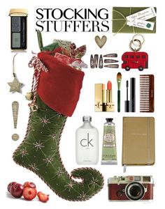 """""""Stocking Stuffers"""" by leegal57 ❤ liked on Polyvore featuring Jayson Home, Calvin Klein, L'Occitane, Burberry, Kate Spade, Leica, (MALIN+GOETZ), Origins, Giorgio Armani and Yves Saint Laurent"""