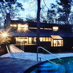 #architecture #homes #design #night #lighting #woods #outdoors #escape #cozy #retreat