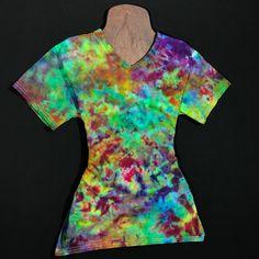 b2b5cf565d31cb Size Small Tie Dye V-Neck T-Shirt • Ice Dyed Splatter Design