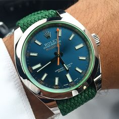 BOYCOTT.: A Rolex Milgauss with Z-Blue dial on a green perlon strap. Picture courtesy of @llvll �� | #LoveWatches