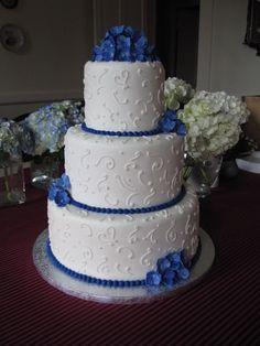 Royal blue and white wedding cake