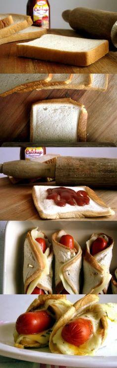 Enroladinho de salsicha #hotdog #pãodeforma #receita