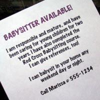 babysitter ad