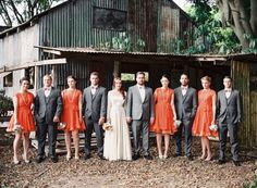 Rustic tangerine Australian wedding / tangerine bridesmaid dresses  OOOOOOOOOOOh, that looks nice. and I like that orangs (hard to do). it's almost a poppy color! Pretty!