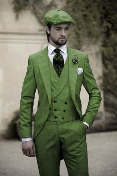 Green - grooman's wedding suite with hat - Google.uk search -  https://www.ottavionuccio.com