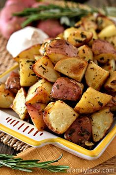 Tuscan Roasted Potatoes – Made with olive oil, garlic plus seasonings and herbs. This a recipe that we brought back from our honeymoon in Italy!