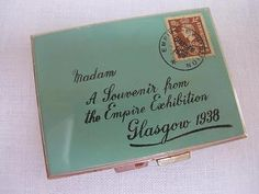 VINTAGE 1930's NOVELTY ENVELOPE POWDER COMPACT - EMPIRE EXHIBITION GLASGOW 1938