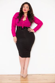plus size pencil skirt outfit - Google Search | plus size fashion ...