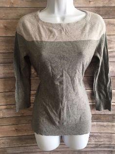 LIZ CLAIBORNE Women's Sweater Size Small Gray 3/4 Sleeve Winter Cotton Blend #LizClaiborne #Crewneck #Casual #ebay