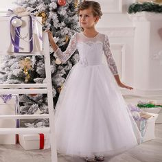 White Tulle Flower Girls Dresses For Wedding 2016 Long Lace A Line Girls Clothes Vestidos Pageant Gown Full Sleeves Little Girls Formal Dresses My Girl Dress From Imonolisa, $89.53| Dhgate.Com