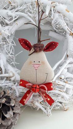 Baumschmuck: Stoff - Weihnachtsbaumschmuck Elch Landhaus - ein Designerstück von Feinerlei bei DaWanda