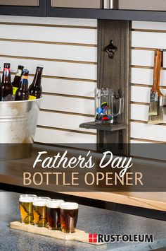 Thanks rustoleum for this post.Looking for a gift for the beer lover in your life? Create a one-of-a-kind DIY b.Looking for a gift for the beer lover in your life? Create a one-of-a-kind DIY beer flight paddle and DIY beer bottle opener wit# beer Beer Party Decorations, Diy Bottle Opener, Diy Spray Paint, Easy Diy Projects, Pallet Projects, Father's Day Diy, Liquor Bottles, Wooden Blocks, Wood Crafts