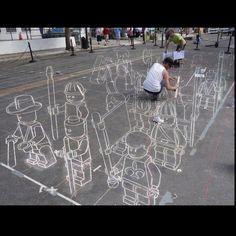3D paint by chalk
