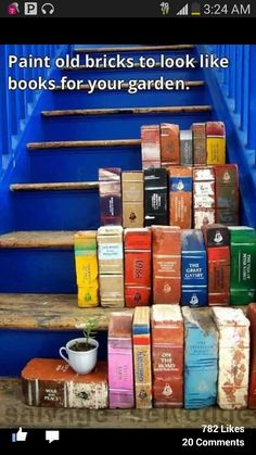 Paint bricks to look like old books for your front stoop or patio!
