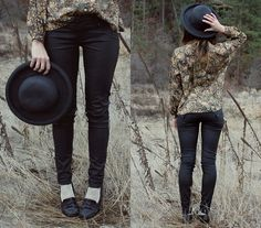 Gifted Hat, Vintage Top, Hudson Leather Like Skinnies