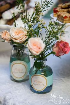 Floral centerpieces at a high tea party! See more party planning ideas at CatchMyParty.com!