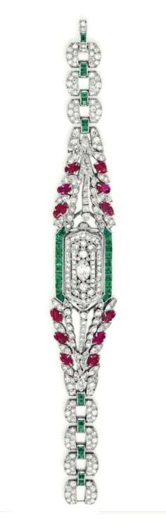Old Jewelry, Gems Jewelry, Art Deco Jewelry, Antique Jewelry, Jewelery, Vintage Jewelry, Fine Jewelry, Art Deco Watch, Diamond Watches