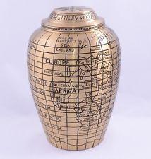 Gold Travellers Atlas Adult Cremation Urn