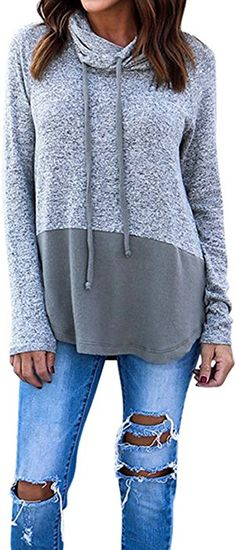 56399671558 Hibluco Women's Cowl Neck Long Sleeve Pullover Sweater Blouse Knit Tops  (Gray, Medium)