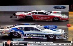 Closest finish in NHRA Pro Stock history, Allen Johnson and Mike Edwards. Call the race from the 1000' mark at the Finish Line Grandstand. Call 423-Bristol