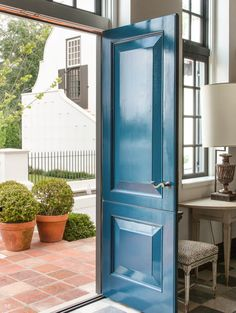 Cape Dutch Inspired beautiful high gloss blue exterior door by McAlpine Front Door Paint Colors, Blue Paint Colors, Painted Front Doors, Benjamin Moore Blue, Oval Room Blue, Fine Paints Of Europe, Hague Blue, Beautiful Living Rooms, Booth Design