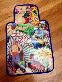 Luchadores Vinyl and Minky Travel Changing Pad