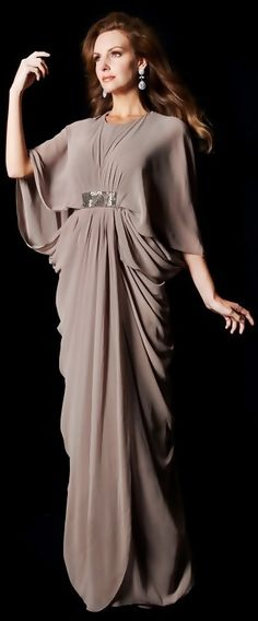 Taupe Draped Evening Gown by Janique
