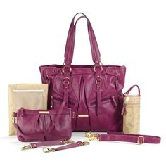Timi and Leslie Dawn Convertible Diaper Bag in Raspberry