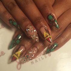 Ankara print Africa nails with swarovski rhinestones nail art @justimaginenails