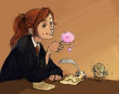 Ginny! and her pigmy puff Arnold and the little owl pigwidgion!!!!!