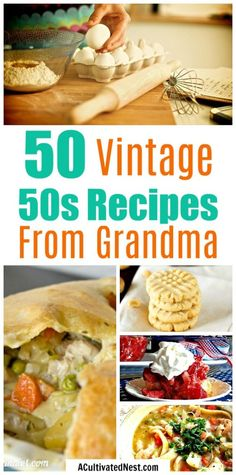 50 Vintage Recipes Like Grandma Used To Make! Check out this huge collection of delicious vintage recipes! These are kinds of great recipes your mom and/or grandma used to make! Diner Recipes, Retro Recipes, Old Recipes, Vintage Recipes, Copycat Recipes, Great Recipes, Cooking Recipes, Favorite Recipes, 1950s Recipes