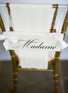Wedding Chair Signs, Madame and Monsieur with Thank you on the back, 2-sided, Wedding Photo Props. Featured on Once Wed.. $51.95, via Etsy.
