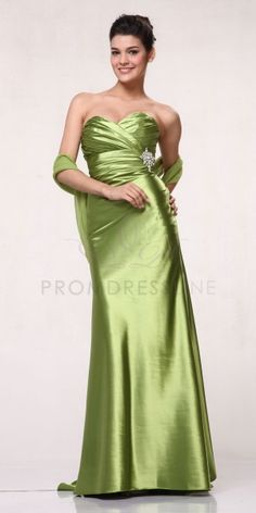 Long green bridesmaid dresses