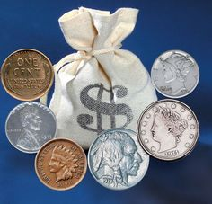 Bankers Bag Of Over 60 Historic Coins Counting Coins, American Coins, American History, European History, Coin Worth, One Coin, Old Money, Silver Bullion, Ideas