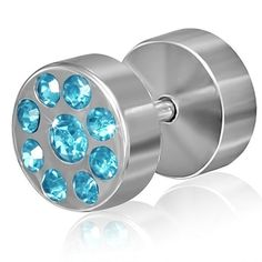 Stainless Steel Faux Fake Ear Plug with Light Blue Gem Stones Pair