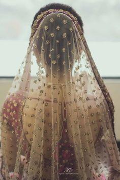 Bridal Details - Blush Pink Dupatta | WedMeGood Blush Pink Dupatta with scattered gold motif #wedmegood #dupatta