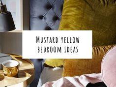 Sophisticaded bedroom ideas with mustard yellow bedding Mustard And Grey Bedroom, Mustard Yellow Bedrooms, Mustard Bedding, Yellow Bedding, Cream Bedrooms, Cream Living Rooms, Pink Bedroom Decor, Bedroom Green, Bedroom Ideas