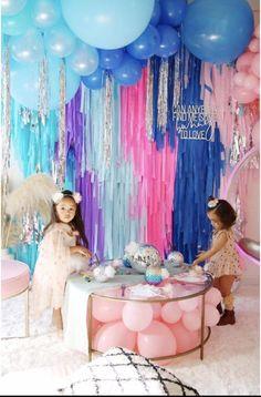 4 Plastic Tablecloth Fringe Backdrop, Vynl fringe, flag tape, flagging tape, photo back Balloon Decorations, Birthday Decorations, Birthday Party Themes, Girl Birthday, Birthday Backdrop, Birthday Images, Streamer Backdrop, Party Streamers, Picture Backdrops