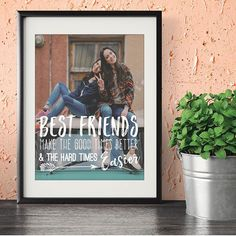 #bestfriends make the #good times better and the hard times easier! Love this best friend quote! #bff #bffe #gifts #qotd #qoutes #art #etsy #fun #love #friends