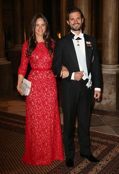 Sofia Hellqvist in Tadashi Shoji and Prince Carl Philip