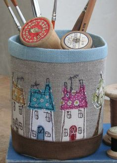 This is a really useful little fabric pot made from Russian linen and cottons and brought to life using free hand machine embroidery. It measures approx tall by 10 circ. Freehand Machine Embroidery, Free Motion Embroidery, Free Machine Embroidery, Embroidery Applique, Embroidery Designs, Sewing Art, Sewing Crafts, Sewing Projects, Fabric Boxes