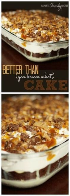 Turn a basic cake mix into a Better Than You Know What Cake! Chocolate cake filled with a sweet caramel filling and topped with crunchy toffee bars. Chocolate cake filled with a sweet caramel filling and topped with crunchy toffee bars. 13 Desserts, Delicious Desserts, Yummy Food, Layered Desserts, Pudding Desserts, Lemon Desserts, Cake Mix Recipes, Baking Recipes, Dessert Recipes
