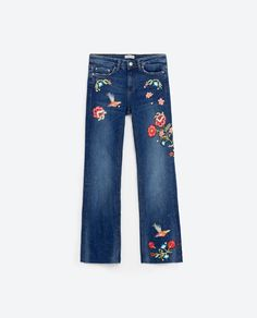 Image 8 of EMBROIDERED CROPPED JEANS from Zara